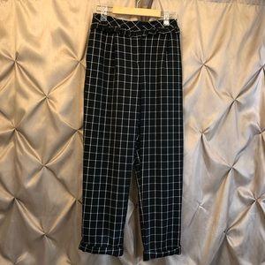 TopShop Women's Dress Pants Black White Checked 4